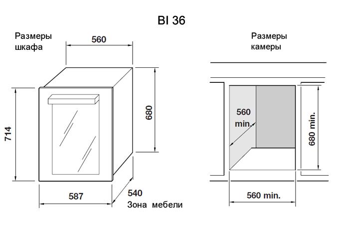 Схема с размерами шкафа и ниши